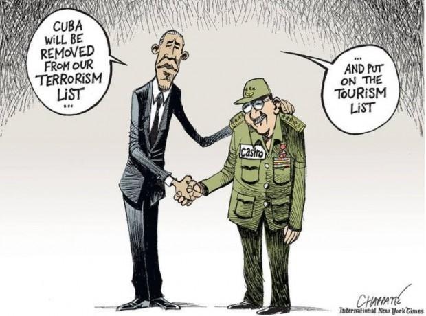 Charge de Patrick Chappatte a propósito da aproximação diplomática entre os EUA e Cuba, publicada no International New York Times